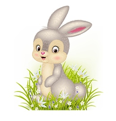 Cartoon little bunny sitting on grass background vector