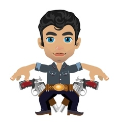 Cute brunette man with weapon character vector