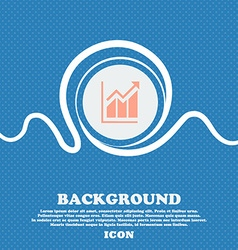 Growing bar chart icon sign blue and white vector