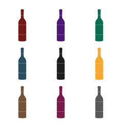 bottle of red wine icon in black style isolated on vector image