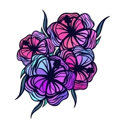Bouquet of stylized tropical flowers on white vector image