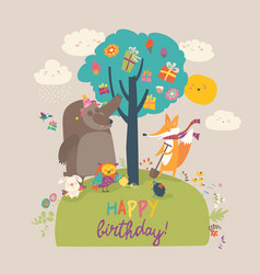 Cartoon animals celebrating birthday in the forest vector