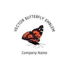 Cartoon Butterfly Emblem vector image vector image