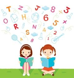 Children reading book vector