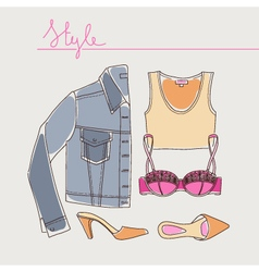 Collection of woman clothes shoes and accessories vector