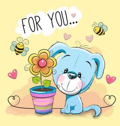 Cute cartoon puppyl with flower vector