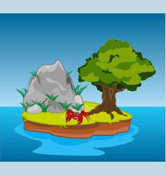 Desert island in ocean vector