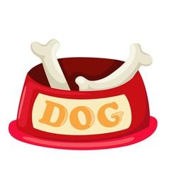 Dog bowl with big bone vector