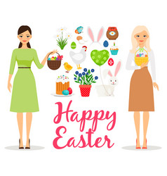 Easter flat elements vector