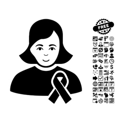 Girl With Sympathy Ribbon Flat Icon With vector image