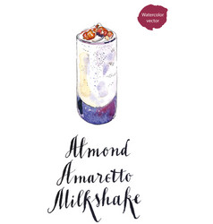 Glass of almond amaretto milkshake vector