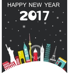 Happy new year 2017 travel background vector