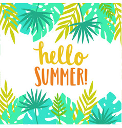 Hello summer bright and beautiful card template vector