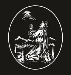 jesus praying vector image vector image