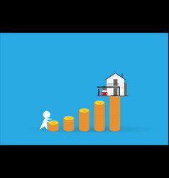 man climbing coins stack with home real estate vector image