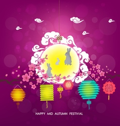 Mid autumn lantern festival background moon rabbit vector