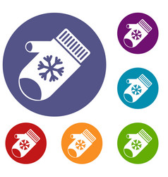 Mitten with snowflake icons set vector