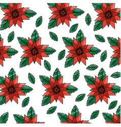 orange flowers leaves foliage decoration seamless vector image
