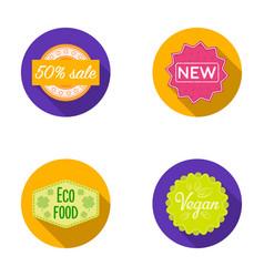 percentage sale new eco food veganlabelset vector image vector image