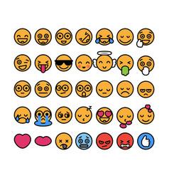 Set of 35 funny emoticons with black stroke emoji vector