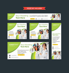 Set of professional green and white web banners vector
