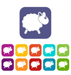 Sheep icons set flat vector