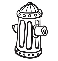 Simple black and white fire hydrant vector
