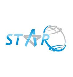star world letter star vector image