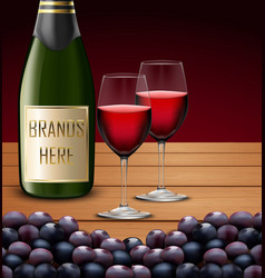 two wineglass and bottles of champagne vector image vector image