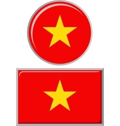 Vietnamese round and square icon flag vector image
