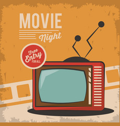 Vintage movie night television card concept vector