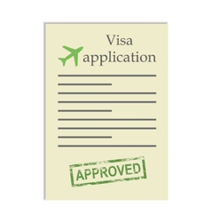 Visa application with approved stamp vector