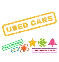 Used cars rubber stamp vector