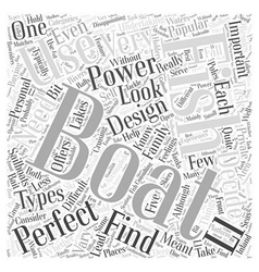 Finding the perfect boat word cloud concept vector