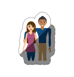 Couple embracing standing shadow vector