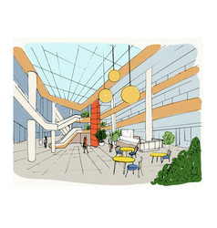 Modern interior shopping center mall colorful vector