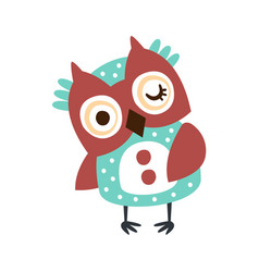 cute cartoon owl bird winking colorful character vector image