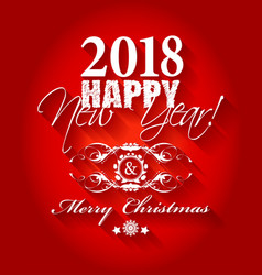 2018 happy new year and merry christmas card or vector