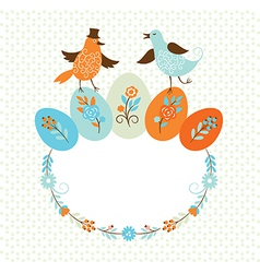 Frame with birds and easter colors eggs vector