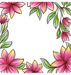 Floral frame retro style design template vector