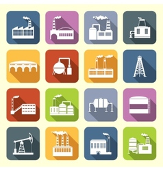 Industrial building icons flat vector