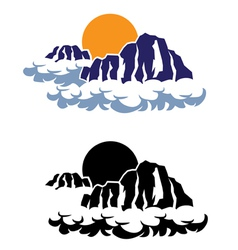 Mountains in the clouds vector