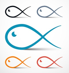 Fish Outline Simple Symbols Set vector image