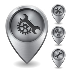 Technology map pointer with metal texture vector image