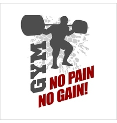 No pain no gain - label for flayer poster logo t vector