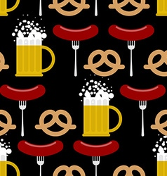 Seamless pattern beer and pretzels sausage vector
