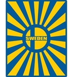 Sweden flag on sun rays backdrop vector