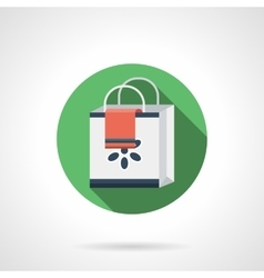 Shopping bag round flat color icon vector