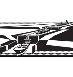 Cargo ships pass canal vector image