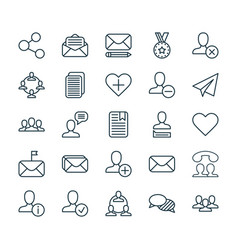 Communication icons set collection of mailbox vector